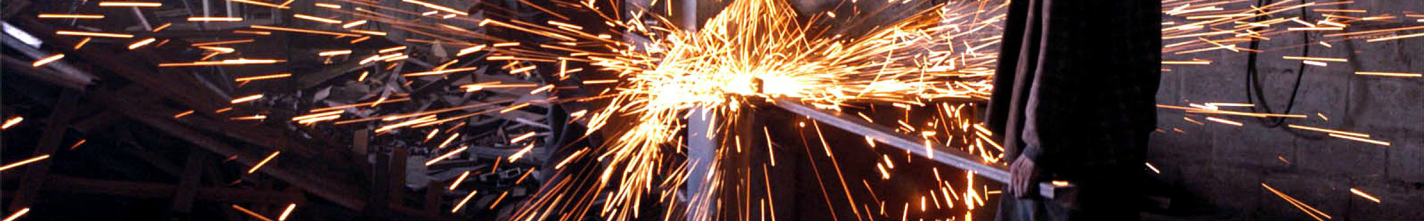 sparks in metal factory
